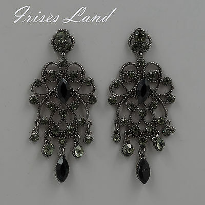 Alloy black jet crystal rhinestone chandelier drop dangle earrings new alloy black crystal rhinestone drop chandelier dangle earrings 06194 aloadofball Gallery