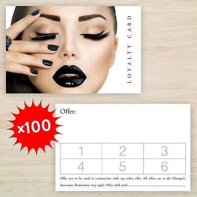 100 x Loyalty Cards Beauty Salon Manicure Nails with Storage Box & FREEPOST!