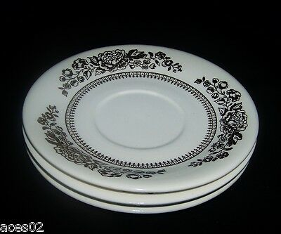 3 Royal China Jeannette Corp USA Sussex Ironstone Saucers Brown Flowers