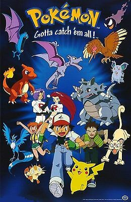 Pokemon Poster - Group Running - Vintage NEW - 396 - FREE SHIPPING