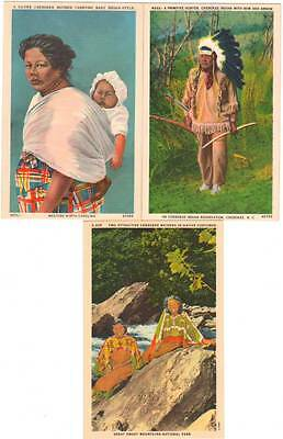 3 Unused Unposted Linen Native Americans - Indians Postcards