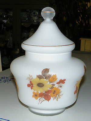 Bristol Satin Glass Frosted Footed w Lid Transferware Fall Floral Candy Dish Jar