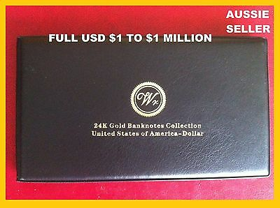 GIFT ALL13 USA AMERICA $ GOLD BANKNOTES 24kt  $1 TO $1 M DOLLAR BILL ALBUM BOOK
