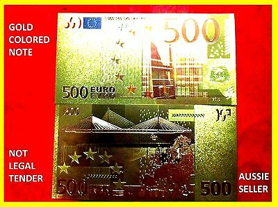 24 kt GOLD  500 EURO BANKNOTE COLOUR GOLD 24KT LIMITED EDITION 3D BANK NOTE