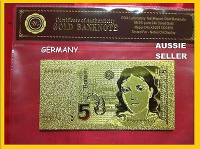 German 5 Mark Gold Germany Banknote 24Kt Gold 99.9 Gold Bank Note