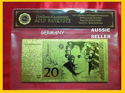 German 20 Mark Gold Germany Banknote 24Kt Gold 99.9 Gold Bank Note