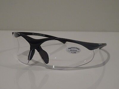 +2.50 x 2 Pairs Clear Bifocal Safety Glasses Readers Magnifiers Workwear