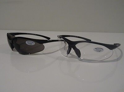 2x Pairs +2.00 Safety Glasses Bifocal Lens Readers 1x Clear + 1x Smoke Worksafe