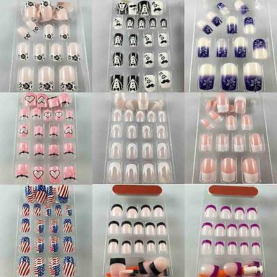 25Styles Beauty DIY Pattern French Plastic Full Cover Tip False Nail Art Tips