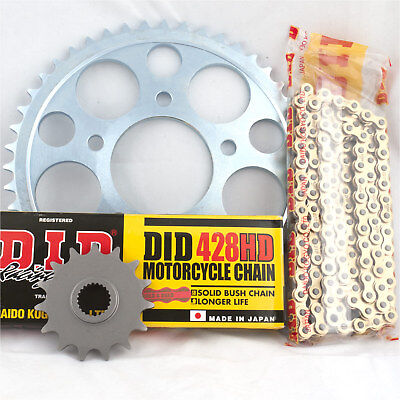 Honda CG125 M1 2002 DID Gold Heavy Duty Chain and Sprocket Kit