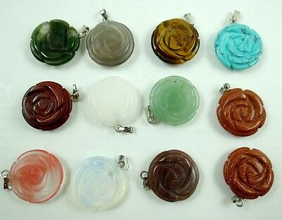Beautiful  12PC Beautiful Mixed agate Gemstone hand-carved Flower Pendant Beads