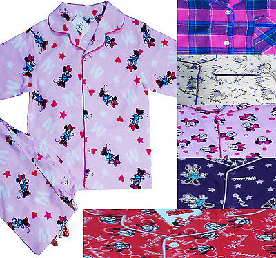 Disney Girls Kids Flannel Pyjamas Sets Minnie Mouse in Brushed Cotton pjs