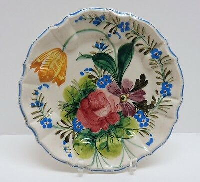 """Vintage 1960's Hand Painted Faience Majolica Floral Pottery Plate ~ 8"""" ~ Italy"""