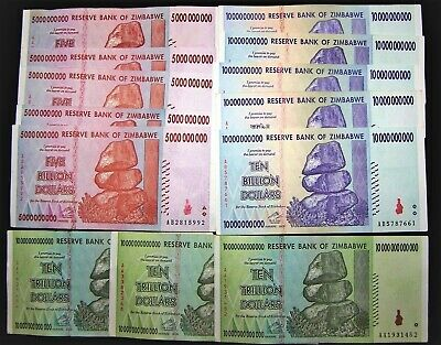 13 Zimbabwe Banknotes-5 x 5 & 10 Billion/3 x 10 Trillion Dollars-currency