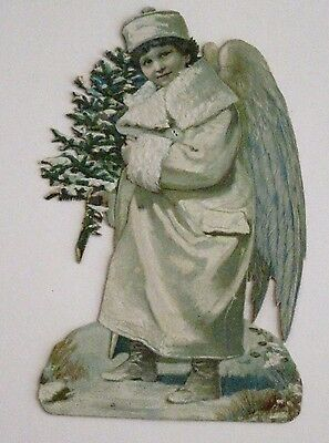 Antique Victorian Vintage Die-Cut Scrap Snow Angel w/ Small Christmas Tree *