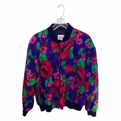 Unisex Lightweight Vintage Floral Print Jacket Shoulder Pads Unique 90s 80s