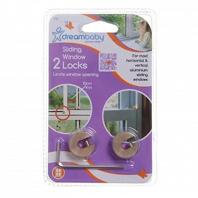 New Dreambaby Brass Sliding Window Locks 2PK fits vertical & horizontal windows