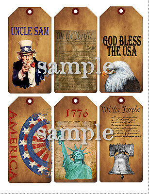Americana Uncle Sam Liberty Bell Eagle 15101 Primitive Grungy Look Hang Tags