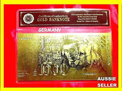 German 1000 Marks Gold Germany Banknote 24Kt Gold 99.9 Gold Bank Note