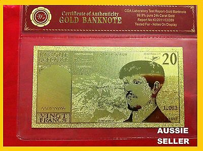 France 20 Franc Gold French Banknote 24Kt Gold 99.9 Gold Bank Note