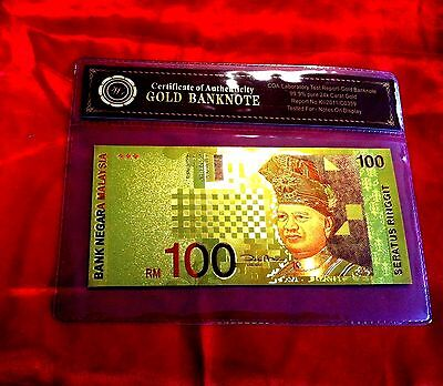 Malaysia Colour Gold 100 Ringgit 2001 Bank Note Banknote  24Kt Coa Folder