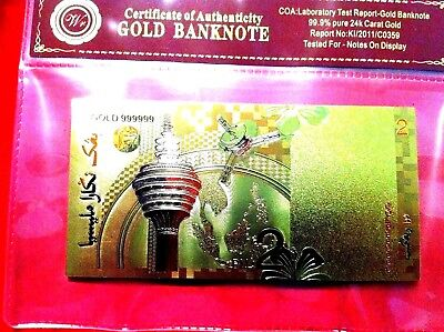 Banknote New Rare Malaysia 24Kt Gold 2 Ringgit Colour Bank Note Free Coa Folder