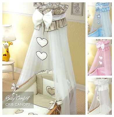 Crown Drape / Canopy Netting Fits Crib / Cradle / Moses Basket Check Pattern