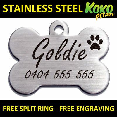 Dog Tag Puppy Pet ID Tags Brushed Stainless Steel Bone Personalised Engraved Lge