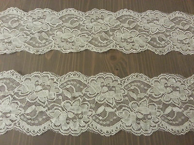 Off  WHITE LaceTrim Bridal Vintage 3 1/2 inch Wide Floral  5 yards Free Shipping