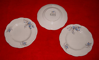 "EX lot 3 Meakin England Dellwood  Sterling 7"" dessert plate Blue Floral & Silver"