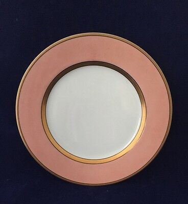 Fitz and Floyd RENAISSANCE - PEACH Salad Plate 7.5 in. Salmon Pink Band Gold