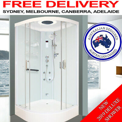 Asnzs Glass Shower Screen Cubicle Enclosure Jets Mixer Lcd Bluetooth Radio