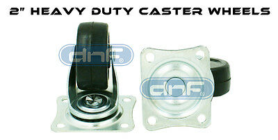 """(4 Pack) 2"""" Heavy Duty Swivel Caster Wheels Rubber with Top Plate & Bearing"""