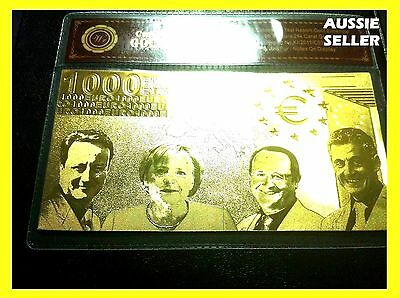 1000 Euro 24Kt Gold Banknote Rare Collectable Bank Note 24Kt Gold + Free Coa
