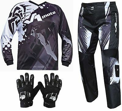 BLACK ADULT MX JERSEY PANTS GLOVES Dirt Bike Gear Off road Motocross BMX MOTOX
