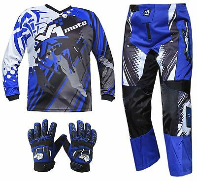 BLUE ADULT MX JERSEY PANTS GLOVES Dirt Bike Gear Off road Motocross BMX MOTOX