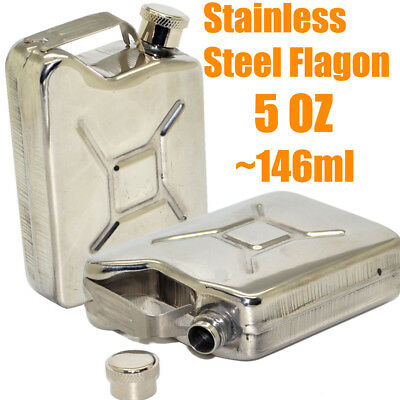New Mens Fuel Tank Style Portable Stainless Steel Hip Flask 5oz Mini Wine Flagon
