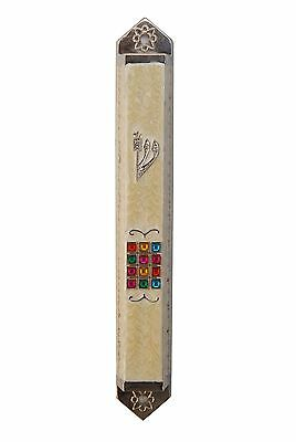 White, Plastic Mezuzah Case For Door With Scroll and Jewish Blessing Card Made in Israel 6.5//17cm