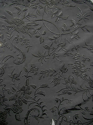 Amazing French 19th century black on black antique embroidery on silk