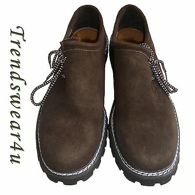 Authentic German Bavarian Oktoberfest Trachten Lederhosen Dark Brown Shoes