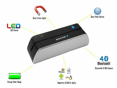 Bluetooth MSR X6BT Mini Magnetic Stripe Credit Card Reader Writer Encoder