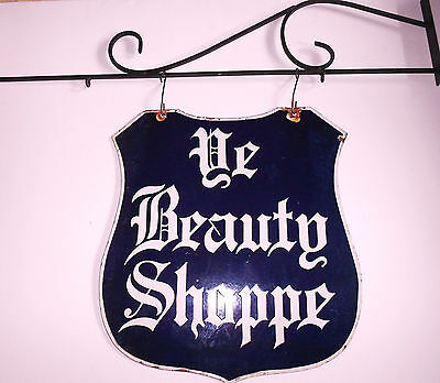Large Two Sided 1930 Deep Blue Porcelain Beauty Shoppe Sign W/ Iron Bracket