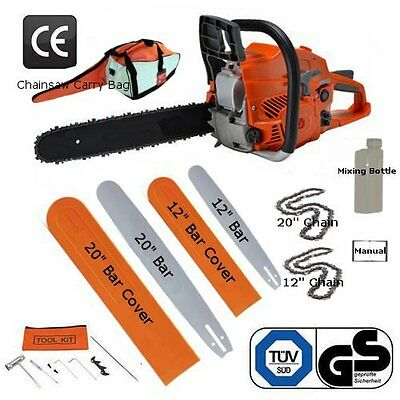 """20"""" & 12"""" Petrol Chainsaw Brand New Complete With 2 Bars, 2 Chains And Bag"""
