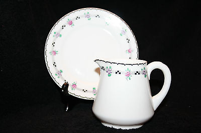 Shelley England China 'Black & White' Pink Roses Milk Jug and Saucer  11235