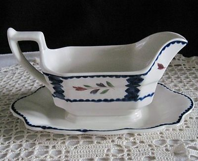 Adams Ironstone Gravy Boat with Attached Underplate Lancaster England Dinnerware