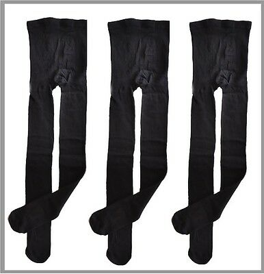 NEW 3 Pairs LADIES WINTER COTTON SCHOOL TIGHTS STOCKINGS Navy Blue & Black