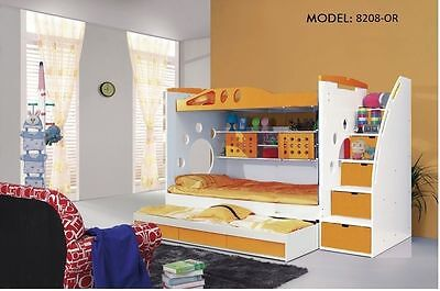 NEW ORANGE BUNK BED + TRUNDLE +STAIRCASE +DRAWERS Childrens Bedroom Furniture