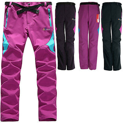 Women Soft shell Outdoor Pants Waterproof Breathable Hiking ski cycling Trousers