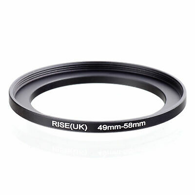 Metal 49mm-58mm Step Up Lens Filter Ring 49-58mm 49 to 58 Stepping Adapter Black