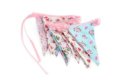 Fabric Bunting Wedding Vintage Shabby & Chic Handmade Floral Lace 10ft